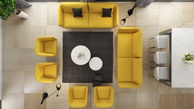 モダンなミニマリストアパートメントのインテリアです。キッチンとダイニングルーム付きのリビングルーム - copy space点の映像素材/bロール