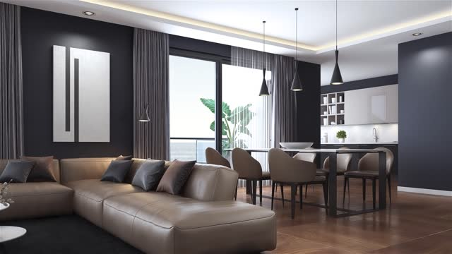 modern minimalist apartment interior. living room with kitchen and dining room. - domestic room stock videos & royalty-free footage