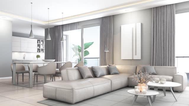 modern minimalist apartment interior. living room with kitchen and dining room. textured to blank room concept. - domestic room stock videos & royalty-free footage