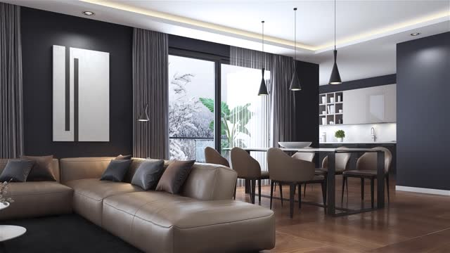 modern minimalist apartment interior. living room with kitchen and dining room. winter with snow concept. - liquid crystal display stock videos & royalty-free footage