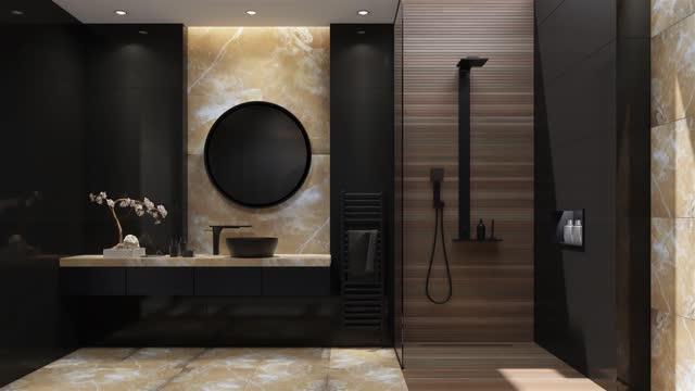 modern minimalist bathroom - towel stock videos & royalty-free footage