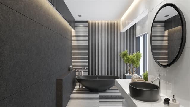 modern minimalist bathroom - hotel stock videos & royalty-free footage
