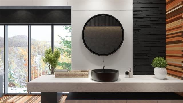 modern minimalist bathroom with winter background. - towel stock videos & royalty-free footage