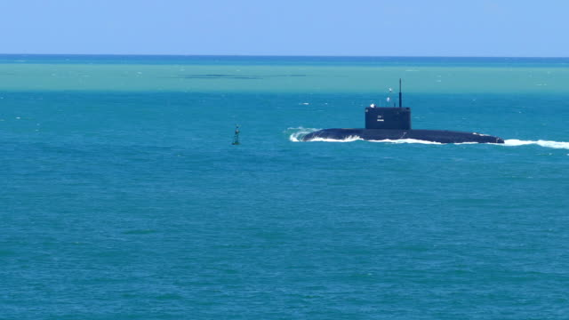 modern missile submarine in the stormy sea - submarine stock videos and b-roll footage