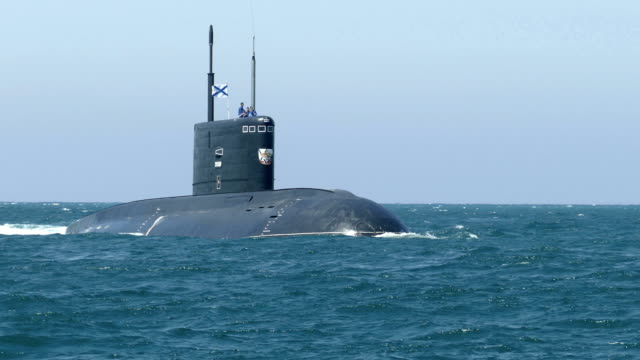 modern missile submarine on the high seas - warship stock videos & royalty-free footage