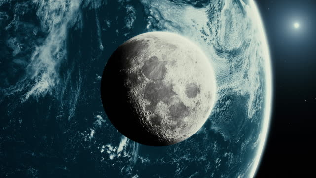 modern moon with earth and sun - supermoon stock videos & royalty-free footage