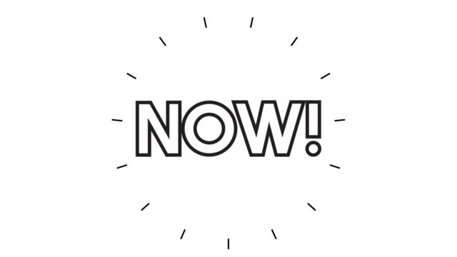 "vídeos de stock e filmes b-roll de modern ""now"" line icon animation on white background - design plano"