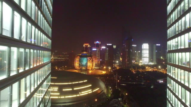 modern office building at night shoot by drones - hangzhou stock videos & royalty-free footage