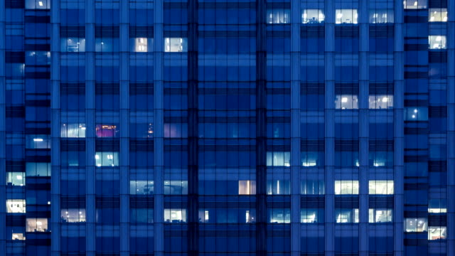 Modern office building at night