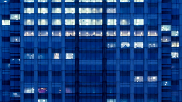modern office building at night - panoramic stock videos & royalty-free footage