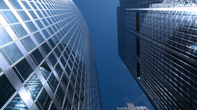 Modern office buildings and clouds