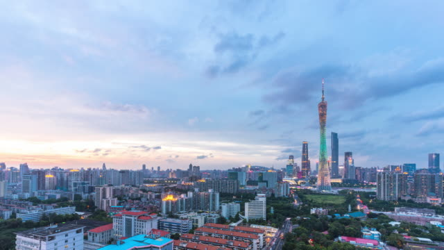 modern office buildings in midtown of guangzhou in cloud sky. timelapse - guangzhou stock videos & royalty-free footage