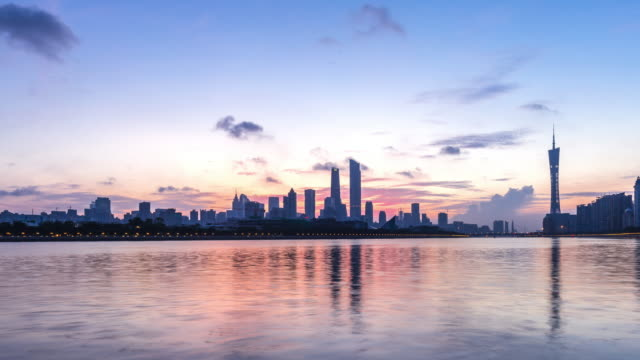 modern office buildings near river in guangzhou at dawn. timelapse - guangzhou stock videos & royalty-free footage