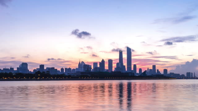 modern office buildings near river in guangzhou at dawn. timelapse