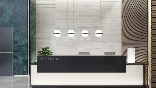 modern offices lobby interior area with elevators and stairs and with long reception desk - manhattan financial district stock videos & royalty-free footage