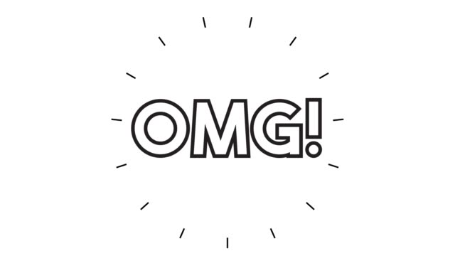 """vídeos de stock e filmes b-roll de modern """"omg!"""" line icon animation on white background - ponto de exclamação"""