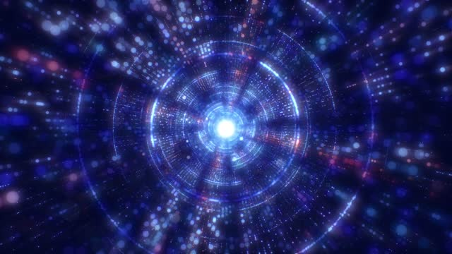 modern particle abstract circle tunnel, flying through glowing zoom in circle creating a tunnel, modern colorful lighting (loopable) - bandwidth stock videos & royalty-free footage