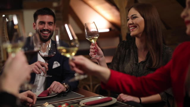 modern people drinking wine - business lunch stock videos & royalty-free footage