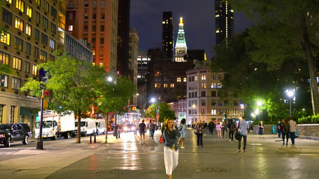 modern place clse to union square. new york relax street. - walkable city stock videos & royalty-free footage