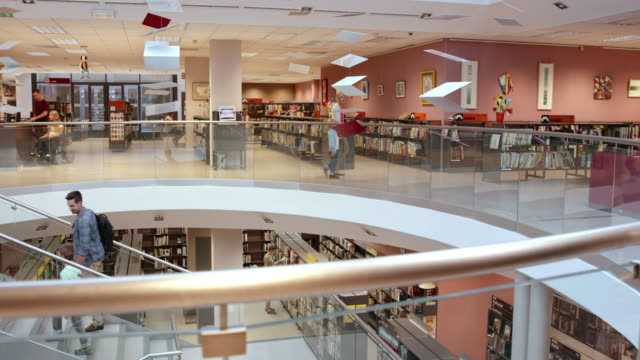 ds modern public library halls - safety rail stock videos & royalty-free footage