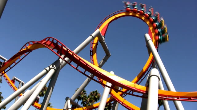 modern rollercoaster hd - audio available stock videos & royalty-free footage