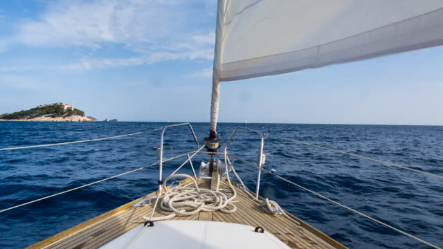 ms modern sailing yacht in mediterranean sea - ship's bow stock videos & royalty-free footage