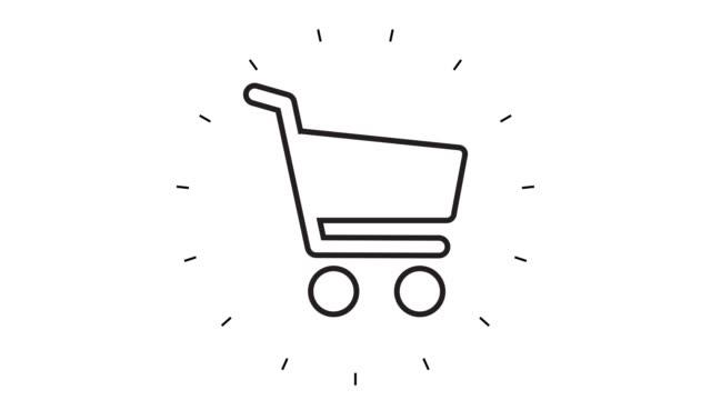 vídeos y material grabado en eventos de stock de animación de iconos de la línea del carro de la compra moderna sobre fondo blanco - ícono