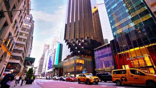 modern shopping mall at 5th avenue and trump building - taxi stock videos & royalty-free footage