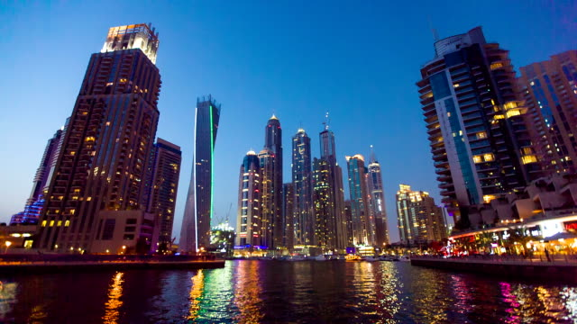 HD: Modern skycrapers in Dubai marina