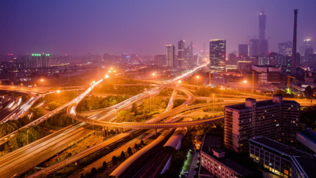 Modern skyline and buildings in beijing, time lapse