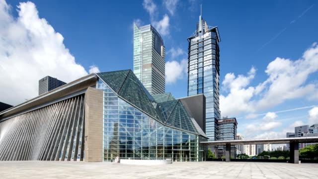 Moderne Gebäude und die skyline von shenzhen, Zeitraffer.