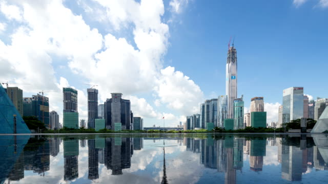 modern skyline and buildings in shenzhen, time lapse.