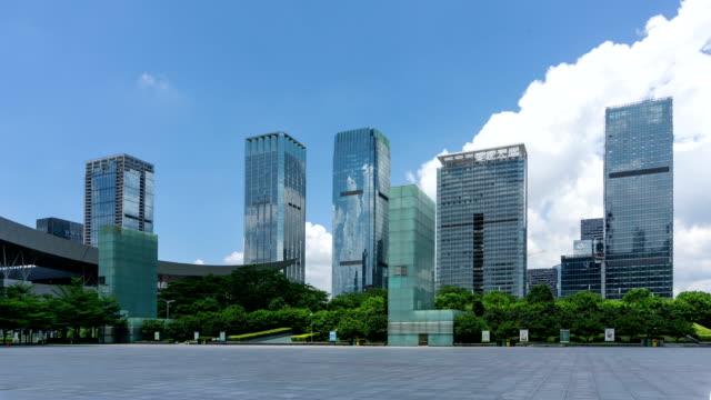 vídeos de stock, filmes e b-roll de horizonte moderno e praça da cidade de shenzhen, intervalo de tempo. - praça