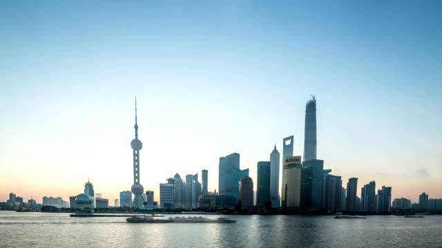 modern skyline and cityscape, riverside of  shanghai, timelapse