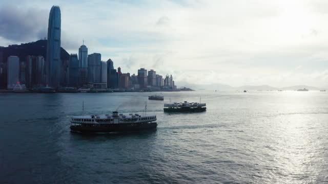 modern skyscraper buildings, kowloon, hong kong - star ferry stock videos & royalty-free footage