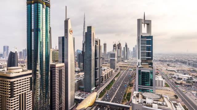 T/L WS HA ZI Modern Skyscrapers and Busy Traffic on Sheikh Zayed Road / Dubai, UAE