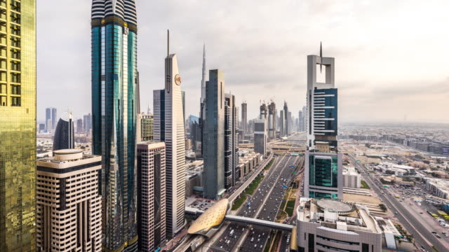T/L WS HA ZO Modern Skyscrapers and Busy Traffic on Sheikh Zayed Road / Dubai, UAE