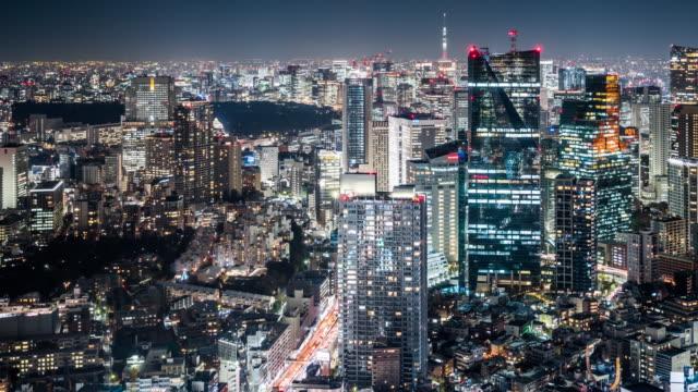 T/L WS HA PAN Modern Skyscrapers at Night / Tokyo, Japan