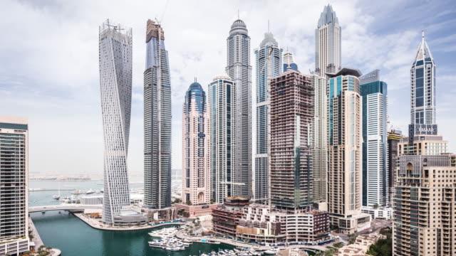 t/l ws ha pan modern skyscrapers in dubai marina / dubai, uae - dubai stock videos & royalty-free footage