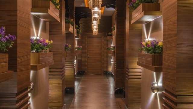 modern spa entrance hall interior - hotel stock videos & royalty-free footage