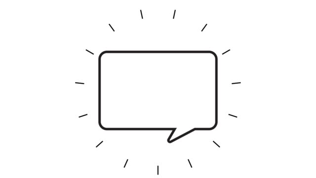 modern speech bubble line icon animation on white background - line art video stock e b–roll