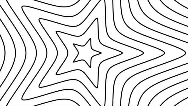 stockvideo's en b-roll-footage met moderne stervorm trendy geanimeerde achtergrond, retro stijl geometrische vormen, bevredigende dia's zomer, abstracte dunne lijnen bewegen eindeloos - star shape