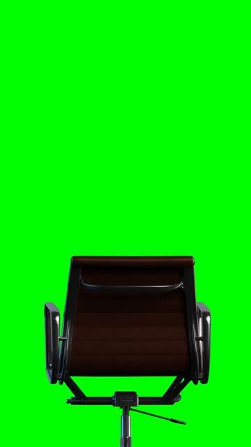 vídeos y material grabado en eventos de stock de moderna silla de oficina de acero y cuero rotación suave. bucle. chroma llave verde ackground. - presidente de organización