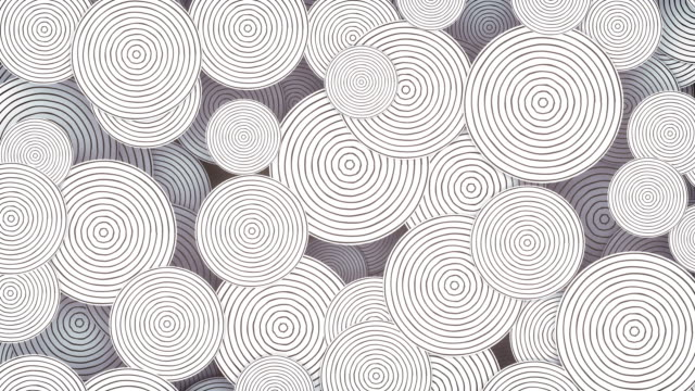 modern striped circles pattern. digital loop smooth, hypnotic animation. 3d rendering monochrome background. 4k uhd - geometry stock videos & royalty-free footage