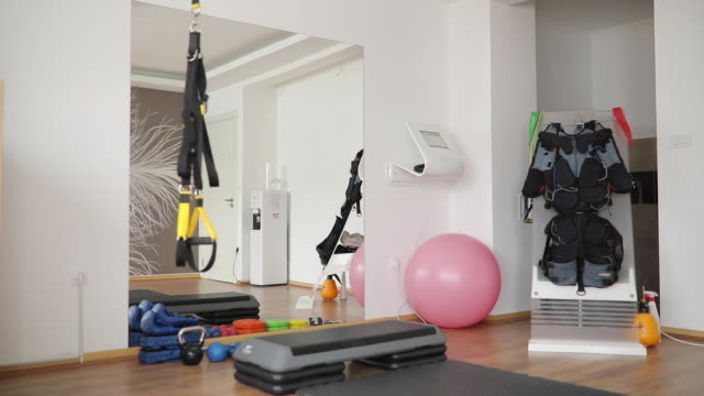 modern studio for exercising - exercise equipment stock videos & royalty-free footage