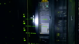 Modern super computer. Data center. Close-up real video in 4K.