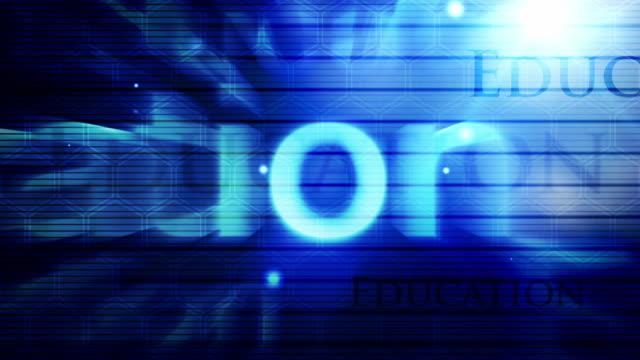 vídeos de stock, filmes e b-roll de fundo moderno de texto educação loop-blue (full hd - flutuando no ar