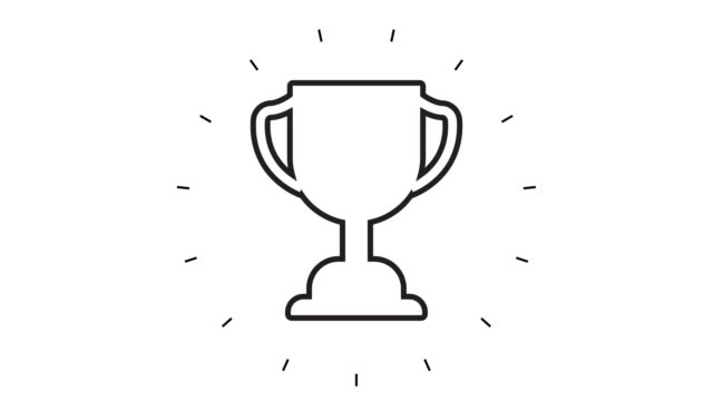 modern trophy award line icon animation on white background - award stock videos & royalty-free footage
