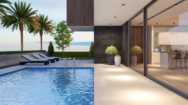 vidéos et rushes de arrière-cour moderne de villa avec le concept de crépuscule de piscine. palmiers. espace de copie. - pierre matériau de construction