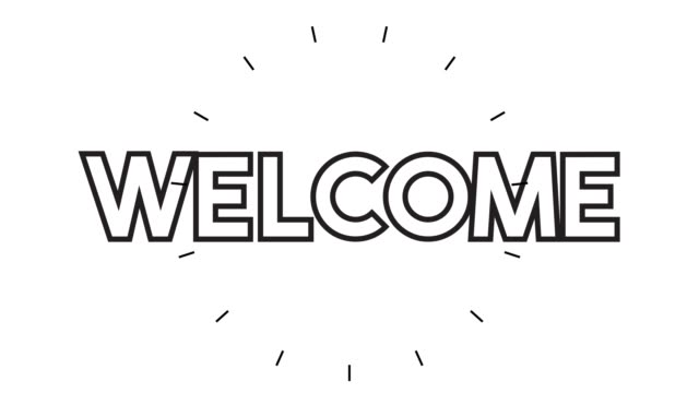 """modern """"welcome"""" line icon animation on white background - welcome sign stock videos & royalty-free footage"""
